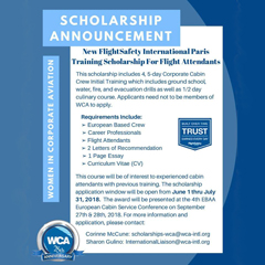 Scholarship offered by WCA - WOMEN IN CORPORATE AVIATION